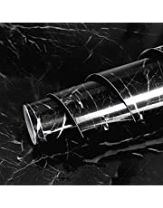 Livelynine Mamorfolie, zwart, 40 x 10 m, plakfolie, marmerfolie, voor tafel, tafelblad, vensterbank, keukenwand, keuken, werkbladen, make-uptafel, werkblad, keuken, zwarte plakfolie, marmerlook