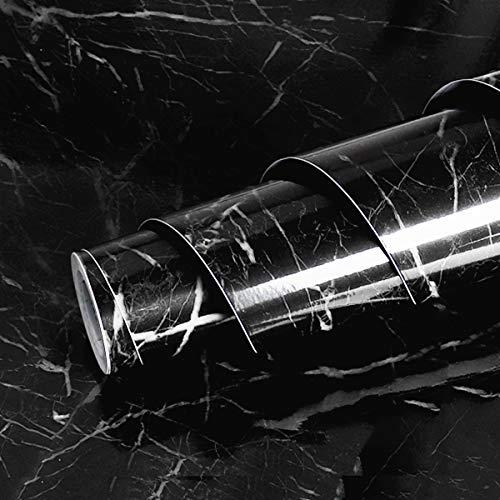 Livelynine Marmor Folie Schwarz Klebefolie Möbel Mamorfolie für Tisch Tischplatte Fensterbank Küchenwand Küchen Arbeitsplatten Schminktisch Arbeitsplatte Küche Schwarze Klebefolie Marmoroptik 40CMX2M