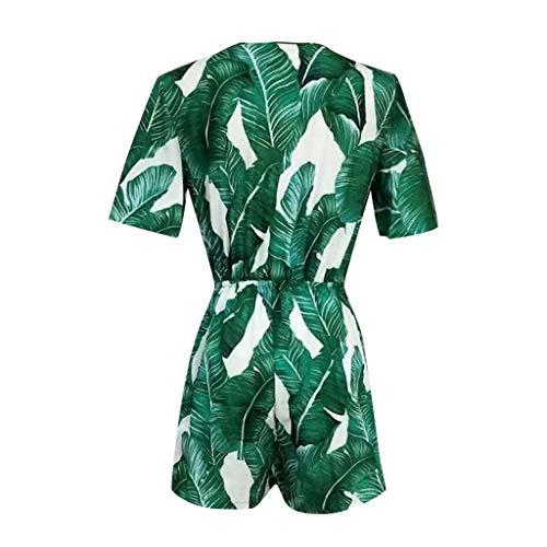 iCJJL Women's Fashion V Neck Leaves Print Short Sleev   e Drawstring Waist Jumpsuit Rompers Green