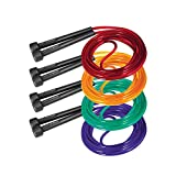jump rope package - C.Park Fitness Skipping Rope, Tangle Free Jump Rope with Non-Slippery Handles | Suitable for Boxing Training, Aerobic Exercises, Speed Training, Endurance Training & Gym Workout (4-Pack, Multi-Color)