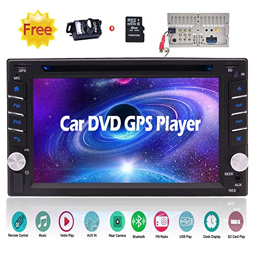 Double Din Bluetooth Car Stereo GPS Navigation Car Video 2 Din in Dash Car DVD CD Player Car Radio Tuner 6.2 inch Capacitive Touchscreen Automotive Head Unit + Remote + Free Rearview Camera