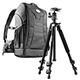 Mantona Scout Trekking 2 in 1 Set (inkl. Trekking Fotorucksack und Kamerastativ Scout 142 cm, geeignet für DSLR- und Systemkameras, mit Diebstahlschutz)