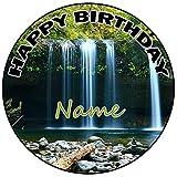 AK Giftshop Decoración para tarta de cumpleaños con forma de cascada, redonda, 20 cm, cualquier edad y nombre