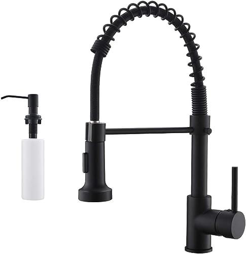 wholesale GIMILI lowest Spring Kitchen Sink outlet sale Faucet with Soap Dispenser Matte Black online sale