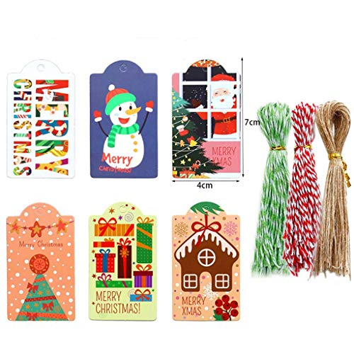 NA. Shaoyanger 144pcs Merry Christmas Paper Tags DIY Handmade Crafts with Rope Food Packaging Labels Gift Wrapping Wedding Party Favor