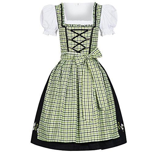Bongossi-Trade Dirndl 3 TLG.Trachtenkleid Kleid, Bluse, Schürze, Gr. 34-46 schwarz grün kariert 38