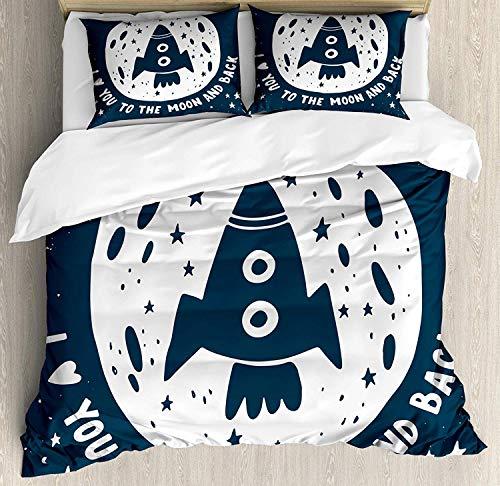 Je t'aime à la lune et le dos King Size housse de couette, toile de fond étoiles Slogan Spaceship Stars Saint Valentin, ensemble de literie décoratif 3 pièces avec 2 taies d'oreiller, bleu foncé et bl