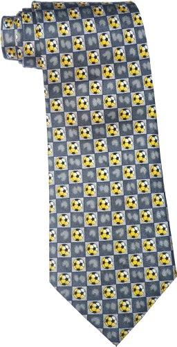 Soie cravate des hommes en gris avec un motif de football sur elle