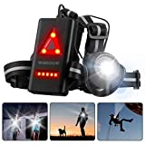 SGODDE Running Light, 500 Lumens Running Chest Light 90° Adjustable Beam Angle USB Rechargeable LED Chest Light Waterproof Flashlight with 3 Modes for Runners Joggers Walking Hiking Camping Fishing