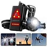 SGODDE Rechargeable USB LED Eclairage de Poitrine pour Course, Lampe Running 2 Modes 500LM Étanche avec Feux Rouge, Idéal pour Jogging, Promenade, Courir, Pêche, Escalade, Camping, Sports Extérieur