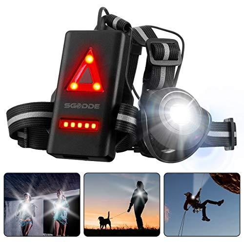 SGODDE Lauflicht,wiederaufladbare USB LED Lauflampe,Brust Lampe wasserdicht Outdoor Sport,90°Einstellbarer Abstrahlwinkel,500 Lumen,360°reflektierendes Band,Leichtgewichtige Lampe zum Laufen