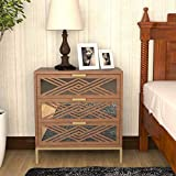 COZAYH Full-Assembled 3 Drawer Accent Chest Modern Mirror Fronts Clean-Lined Silhouette, Natural