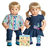American Girl Bitty Twins Dolls - Blond Boy and Girl with 'Bitty Twins Learn to Share' book