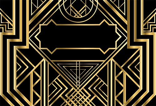 Laeacco Golden Abstract Geometric Vintage Background 10x8ft Art Deco Pattern Photography Background 3D Ornament Modern Style Backdrops Wedding Parties Black Background