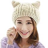 umbresen Cute Woollike Knitted CAT Kitty Ears Women Lady Girl Headgear Crochet Christmas Hats Beige