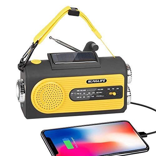 weather radio for kids SUNGLIFE Solar Crank NOAA Weather Radio for Emergency with AM/FM, 2000mAh Power Bank USB Charger, Flashlight, Reading Lamp and SOS Alarm, Yellow