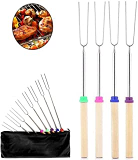 Sohapy Roasting Sticks Barbecue Forks with Wooden Handle Extendable Forks for Outdoor Fireplace Campfire Barbecue Utensils...