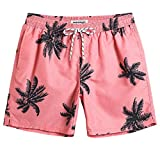 MaaMgic Shorts de Baño para Hombre Shorts de Playa Traje de Bañode Secado Rápido para Vacaciones Diseño a Rayas, Coco Naranja L
