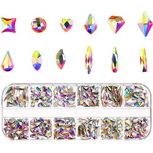 Rubywoo&chili 240 Stück Nagelkristalle AB, Nail Kristalle Nail Art Strass rund Perlen flache Glas Charms Gems Steine mit Aufbewahrungsbox