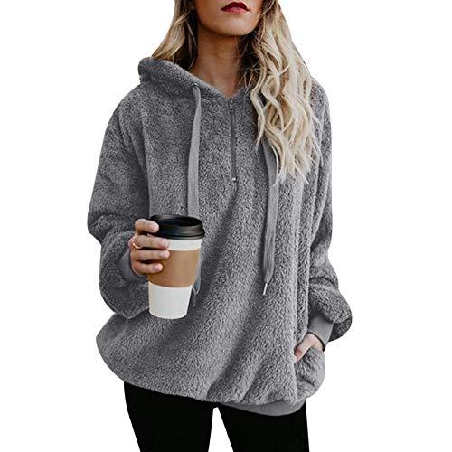 Vertvie Damen Hoodie Kapuzenpullover mit Kapuze und einfarbigen Pullovern Casual Winter Teddy-Fleece Langarm Oversize Sweatshirt Mantel Tops Mit Kapuze(A-Grau, 2XL)