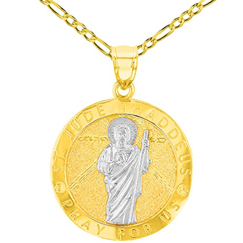 """Solid 14K Yellow Gold Round St. Jude Thaddeus Medallion Pray For Us Pendant with Figaro Chain Necklace, 24"""""""