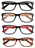 4 Pack Classic Reading Glasses Spring Hinges Comfort Readers for Men and Women