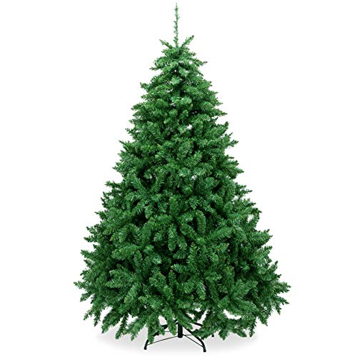 AMS 6FT Christmas Trees Premium Artificial Xmas Pine Tree Holiday Decoration with 39FT 120 LEDs USB Copper Wire Light, 1200 Branch Tips, Foldable Metal Stand(6 FT, Green)