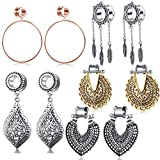 5 Pairs Surgical Steel Dangle Plugs For Women Rose...
