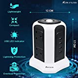 AcornSolution Extension Plug Tower, Tower Extension Lead with 6 Sockets, 4 USB Slots & Wireless Charger, Vertical Power Strips with 2M Extension Cord, Individual Switches & Surge Protector