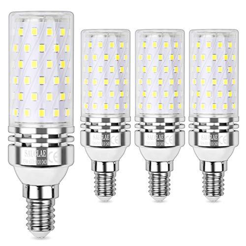 Sauglae E14 Led Mais Leuchtmittel 15W, Entspricht 120W Glühbirnen, 6000K Kaltweiß, 1500lm, Kleine Edison Schraube Led Birne, 4-Pack