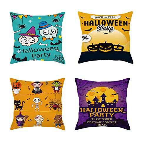 QXbecky Halloween Pillowcase 3pcs Death Skull 4pcsVampire Zombie Witch Linen Flannel Cushion Cover 45cm