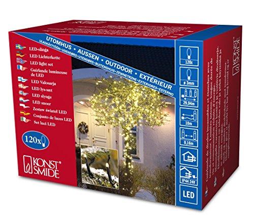 Konstsmide 3612-110 Micro LED Lichterkette / für Außen (IP44) / 24V Außentrafo / 120 warm weiße Dioden / schwarzes Kabel