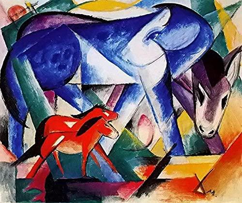 Caballo azul y rojo - Kits de pintura de diamantes 5D para bricolaje - Franz Marc - Bordado de punto de cruz Artesanía redonda completa Regalo artístico 40x50cm