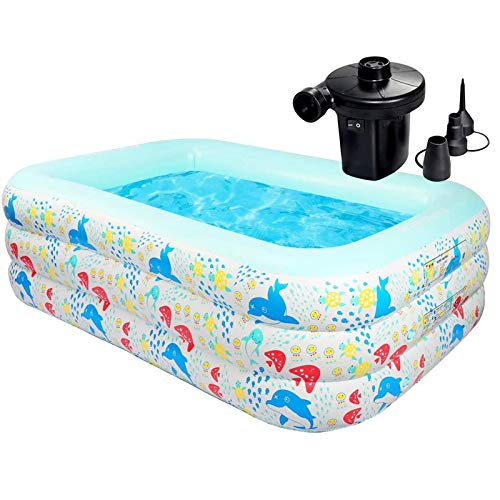 EEUK Piscina Bebe Hinchable, Piscina de Agua para Niños, Piscina Infantil para Bebés Durable y Seguro para Niños, Adultos, Familias, Parque Acuatico