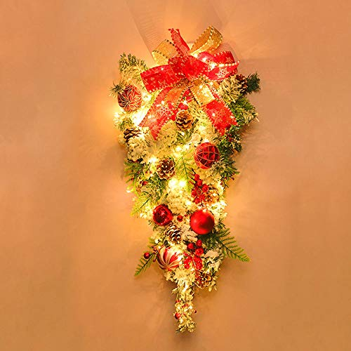 B/H Artificial Wreath Front Door Decoration,Illuminated Fireplace Stair Wreath,Christmas decorations home Christmas cane hanging ring ornaments-H_50cm
