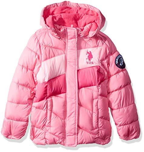 US Polo Association Girls' Little Midweight Bubble Jacket, Medium Pink, 4