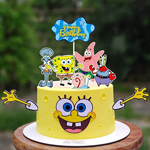 9pc SpongeBo.b SquarePants Cake Topper SpongeBob SquarePants Cupcake Toppers cake decoration for boys