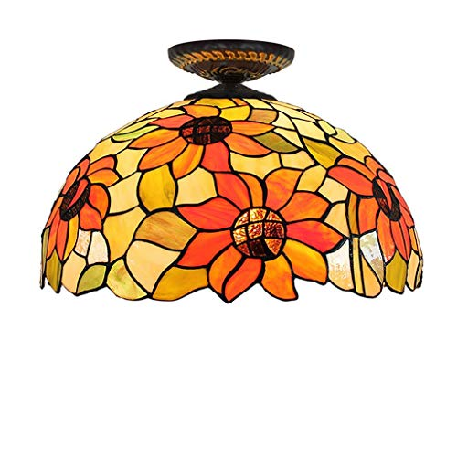 Plafondlamp van gekleurd glas Tiffany For Corridoio Corridoio slaapkamer restaurant 12 inch