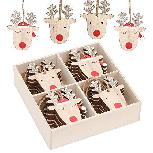 Valery Madelyn 24 Pezzi Natale Ciondolo in Legno Figurine in Legno da Appendere Wood Christmas Decorazione Albero di Natale Albero Marrone Rosso Oro