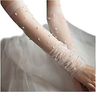Fstrend Wedding Gloves Fingerless Pearl Bridal Lace Glove for Women and Girls