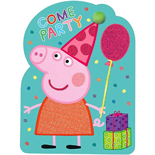 amscan Peppa Pig Birthday Party Invitations | Pack of 8 | Party Supply