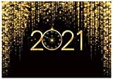 Funnytree 7x5ft Happy New Year 2021 Backdrop Pocket Watch Dial Countdown Photography Background Black and Gold Glitter Bokeh Sequin New Year's Eve Party Portrait Decor Banner Photo Booth Studio Props