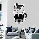 Taza para beber de cerveza Espuma Trigo Alcohol Vino Logo Signo Pub Bar Cervecería Etiqueta de la pared Calcomanía de vinilo Dormitorio Sala de estar Cocina Restaurante Decoración del hogar Mural