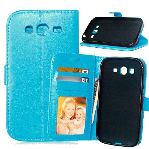 Fatcatparadise Cover per Samsung Galaxy Grand Neo Plus/Grand Neo i9060 [con Pellicola in Vetro Temperato], Cuoio Portafoglio Flip Magnetico Case Simple Wallet Case Custodia in PU Cover (Blu)