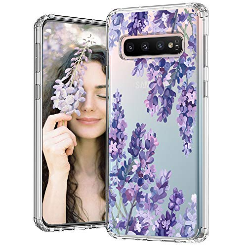 Case for Galaxy S10,MOSNOVO Shockproof TPU Bumper Slim Clear Case with Floral Design for Samsung Galaxy S10 Phone Case Cover - Lavender