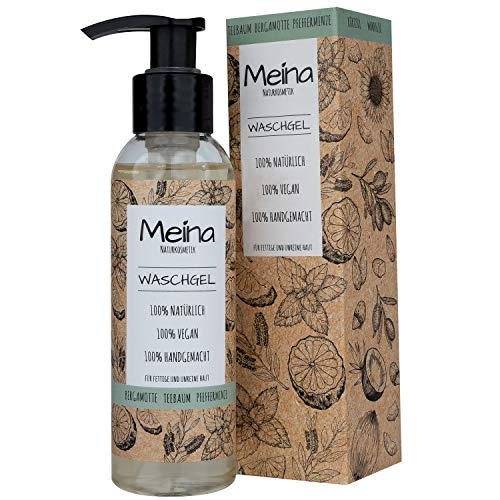 Meina Naturkosmetik - Bio Waschgel mit Teebaum, Bergamotte und Pfefferminze (1 x 120 ml) Vegan Face Wash - wirkt effektiv gegen unreine Haut