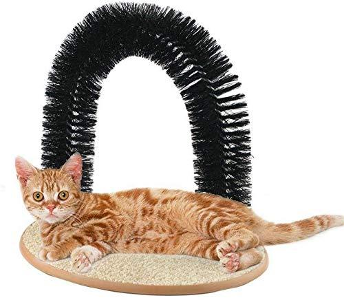 BXWBH Kratzspielzeug für Katzen, Massagegerät, Kratzer, Haustierbogen, selbstpflegende Fellpflege, weiche, bequeme Borsten mit Katzenminze