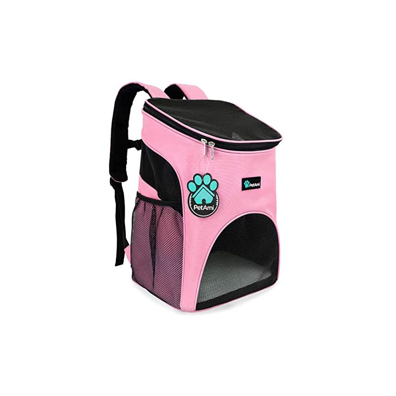 dog supplies online petami premium pet carrier backpack for small cats and dogs   ventilated design, safety strap, buckle support   designed for travel, hiking & outdoor use (pink)