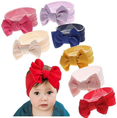 Qandsweet Baby Girl's Headbands and Bows Hair Accessories (7Pcs Newest01)