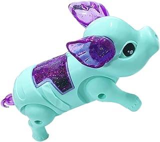 rongweiwang Djurleksak elektronisk batteridriven gående djur plastleksak musik djur barnleksak med lätt musik, ljusblå